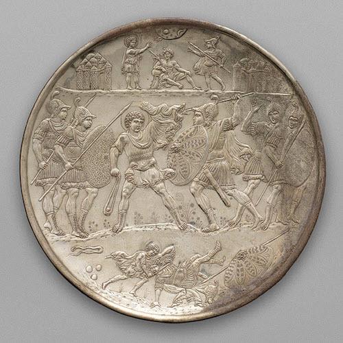 Ασημένιος δίσκος με τον Δαβίδ και το Γολιάθ, 629-630