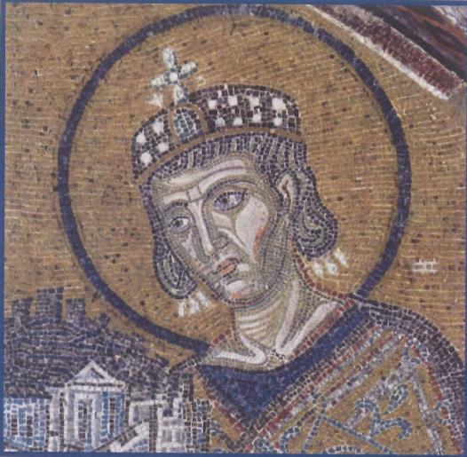 2. Ο Μέγας Κωνσταντίνος ενώπιον της Θεοτόκου κρατών και αναθέτων εις αυτήν την Βασιλέυουσαν (Λεπτομέρεια ψηφιδωτού της Αγίας Σοφίας)