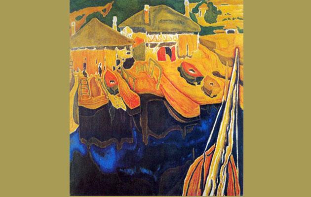 Παπαλουκάς, Αρσανάς Αγίου όρους, 1936. Λάδι σε χαρτόνι 81Χ75.