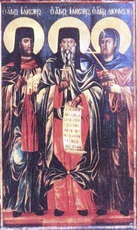 Ό Οσιομάρτυς Ιάκωβος μετά των μαθητών αυτού, Ιακώβου διακόνου και Διονυσίου μοναχού