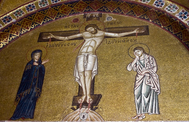 Crucifixion of Jesus, 11th century mosaic, Greece.