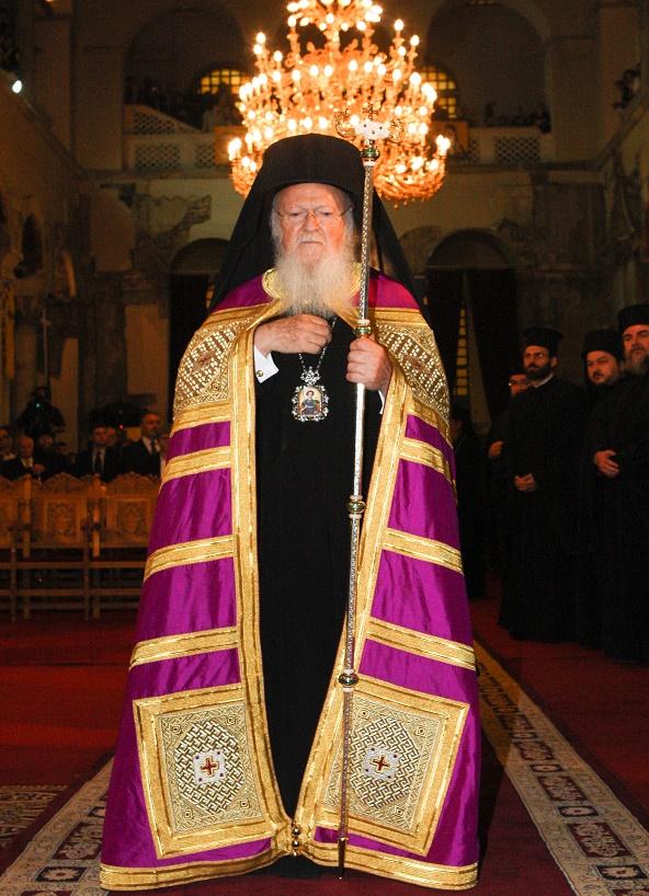 Patriarch Bartholomew in the church of Agios Dimitrios