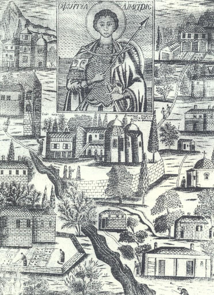 Χαλκογραφία ιεράς σκήτης Αγίου Δημητρίου Λάκκου (1865)