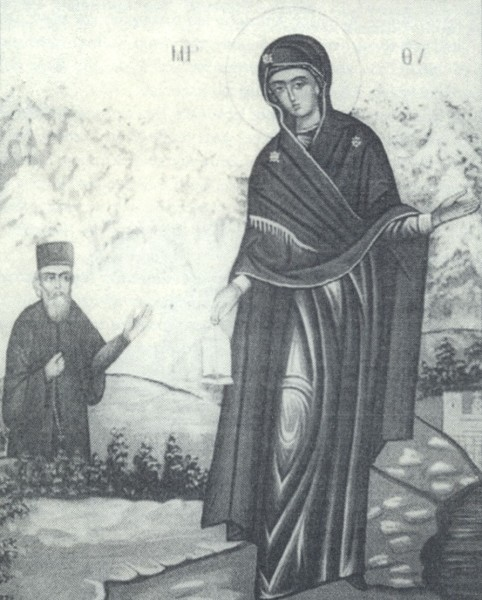 Η εξεικόνιση του θαύματος της Γερόντισσας Παναγίας στον μοναχό Πανάρετο.