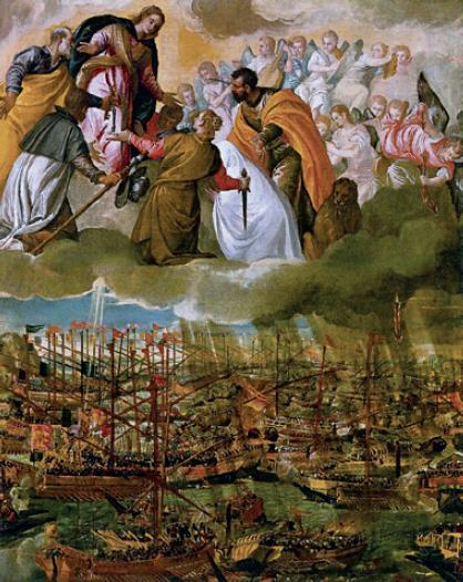 Η ναυμαχία του Lepaldo (Ναυπάκτου). Πίνακας του Paolo Veronese, ± 1575.