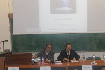 Ο Πρόεδρος του Τμ. Θεολογίας, Καθ. Π. Σκαλτσής, αναπτύσσει την Εισήγησή του