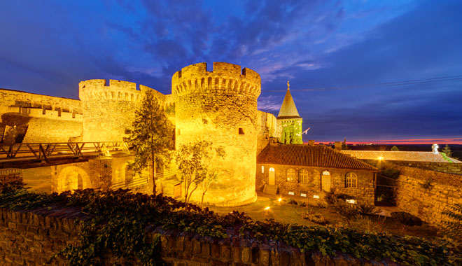 Belgrade fortress and Kalemegdan park at night