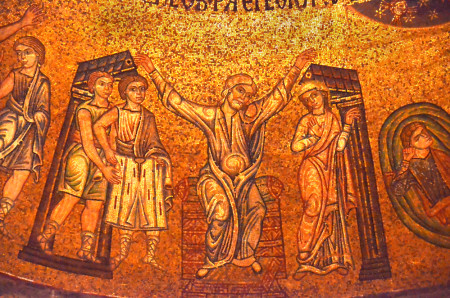 Patriarch Israel blessing the sons of Joseph. Golden byzantine mosaic from the ceiling of the basilica of St Mark, Venice, Italy