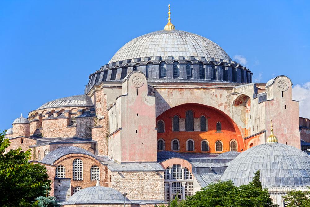 Byzantine architecture of the Hagia Sophia ( The Church of the Holy Wisdom or Ayasofya in Turkish ), famous historic landmark and world wonder in Istanbul, Turkey