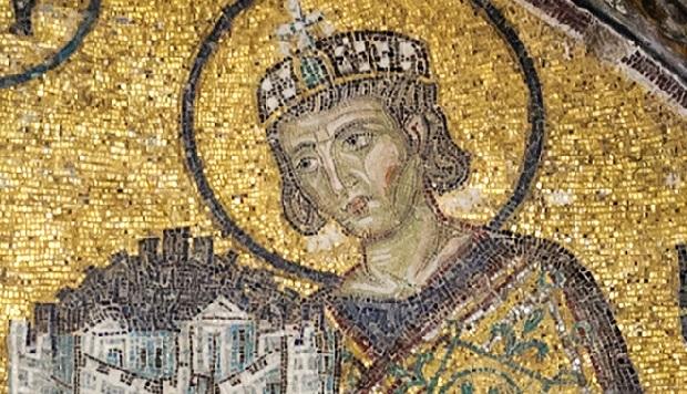 Constantin 1er - détail de la mosaïque de l'entrée sud-ouest de Sainte-Sophie (Istanbul, Turquie)