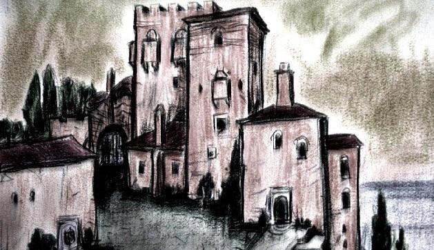 Μονή Σταυρονικήτα, εξωτερική άποψη με τους πύργους.