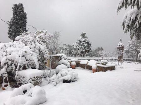 Η Ι.Μ. της Θεολογικής Σχολής της Χάλκης καλυμμένη από λευκό πέπλο χιονιού