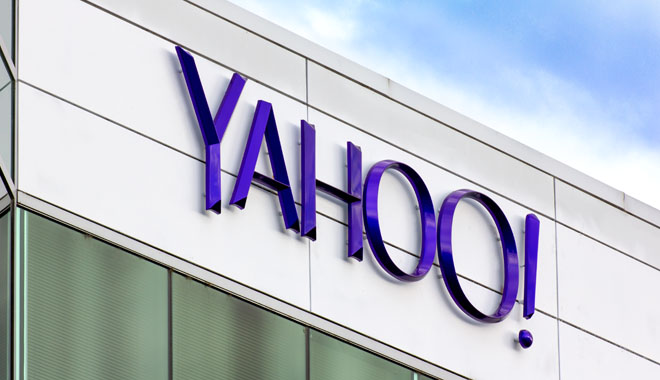 SUNNYVALE, CA/USA - MARCH 1, 2014:  Yahoo Corporate Headquarters Sign. Yahoo is an American multinational Internet corporation globally known for its Web portal, search engine Yahoo Search, and related services