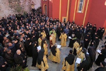 Η Λιτανεία της Κυριακής των Βαΐων στην Ι.Μ.Μ. Βατοπαιδίου