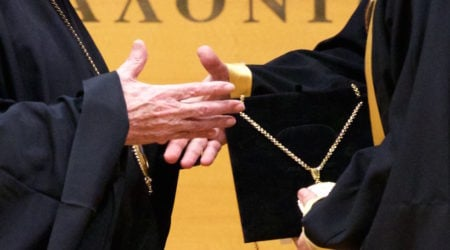 Απονομή της Ανώτατης Τιμητικής Διάκρισης Χρυσούς Αριστοτέλης στον Αρχιεπίσκοπο Αλβανίας κ. Αναστάσιο