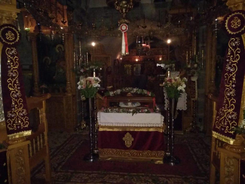 Το σκήνωμα του αγίου Κοσμά του ερημίτου στην Ι. Μ. Κουδουμά ύστερα από 960 έτη