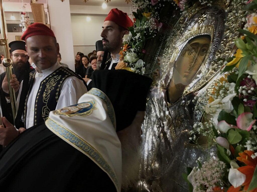 Υποδοχή ιερά εικόνος Παναγίας Εσφαγμένης στην Νέα Ευκαρπία Θεσσαλονίκης