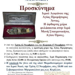 Η Τίμια Χείρα της Αγίας Άννης από την Ιερά Μονή Σταυρονικήτα στο Μαρούσι (12-17 Νοεμβρίου)