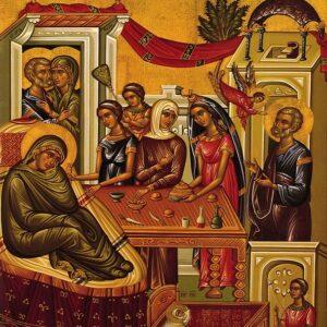 «Αύτη ημέρα Κυρίου, αγαλλιάσθε λαοί. Ιδού γαρ του φωτός ο νυμφών και η βίβλος του λόγου της ζωής εκ γαστρός προελήλυθε»